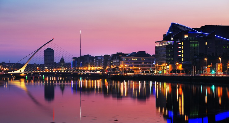 North bank of the river Liffey at Dublin City Center at night